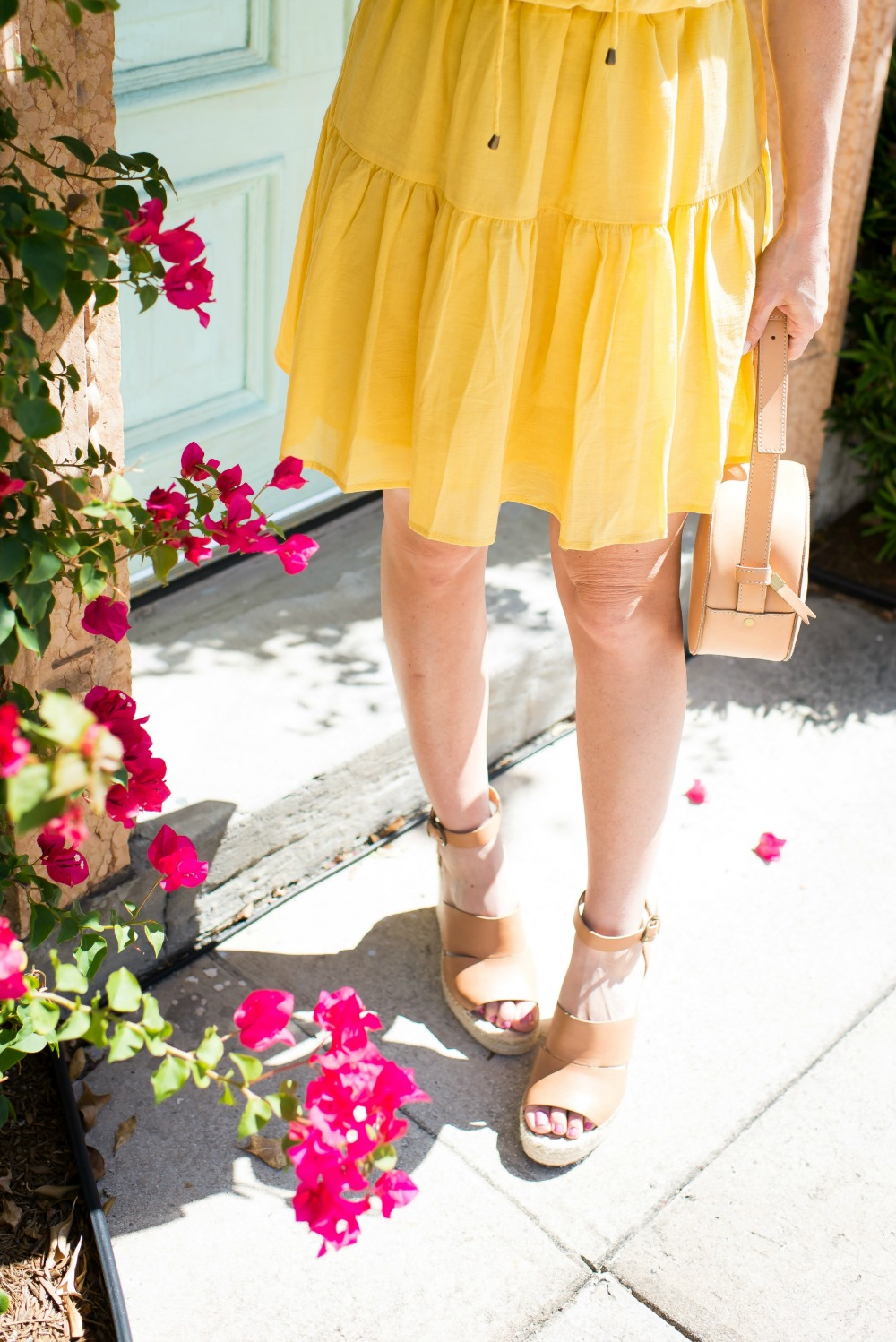 Easy spring outfit formulas -- budget friendly dress & cute wedges - Cute Yellow Dress styled by popular Florida fashion blogger, The Modern Savvy