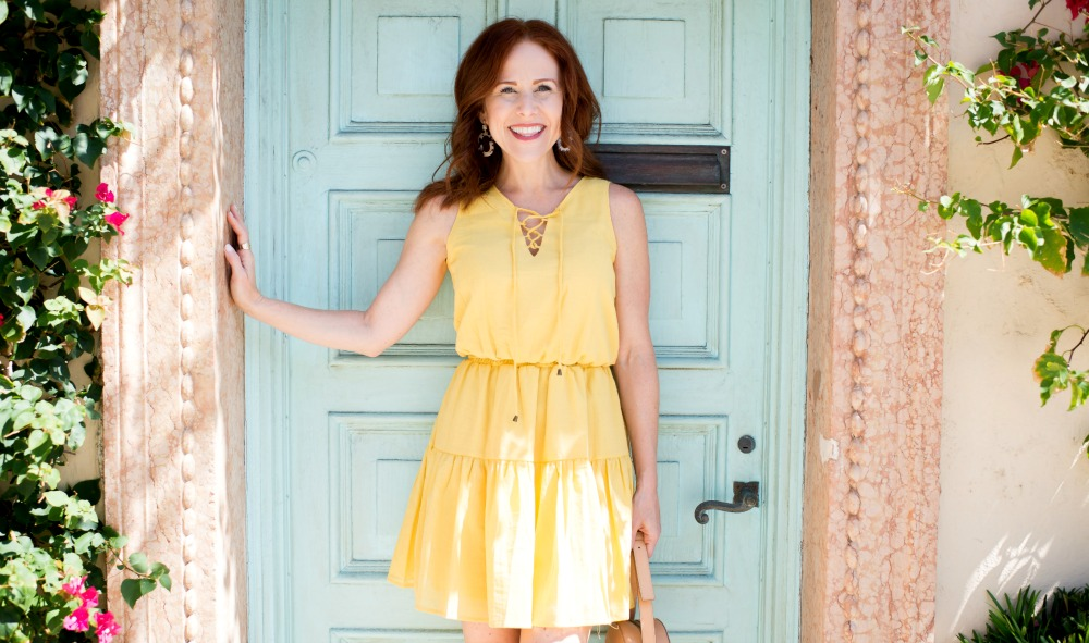 yellow dress, blue door in Palm Beach // the modern savvy, a life & style blog - Cute Yellow Dress styled by popular Florida fashion blogger, The Modern Savvy
