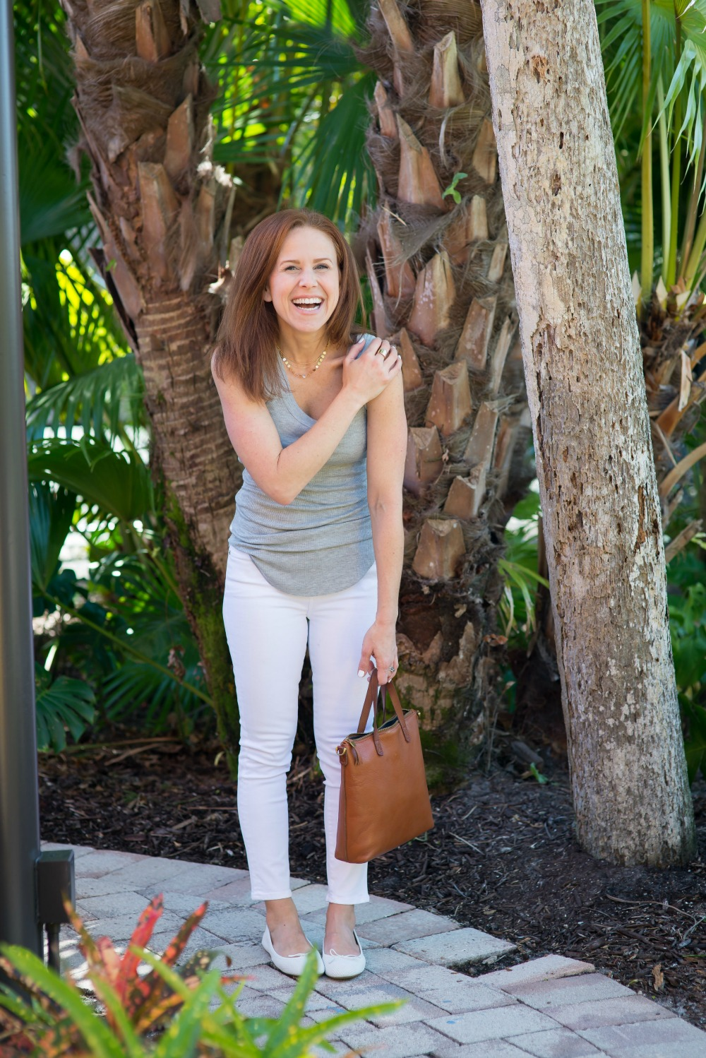 Easy outfit idea for white denim // the modern savvy - Spring Tank styled by popular Florida style blogger, The Modern Savvy