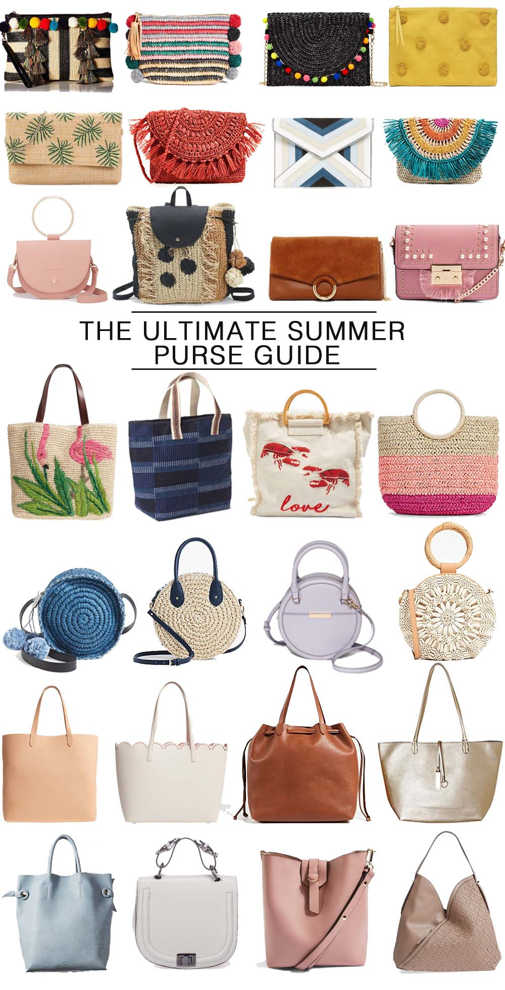 The ultimate guide to summer purses: clutches, cross body, casual fun totes, round bags, leather totes & day bags... it's all here and budget friendly! // the modern savvy, a life & style blog  - The Best Summer Handbags by popular Florida blogger, The Modern Savvy