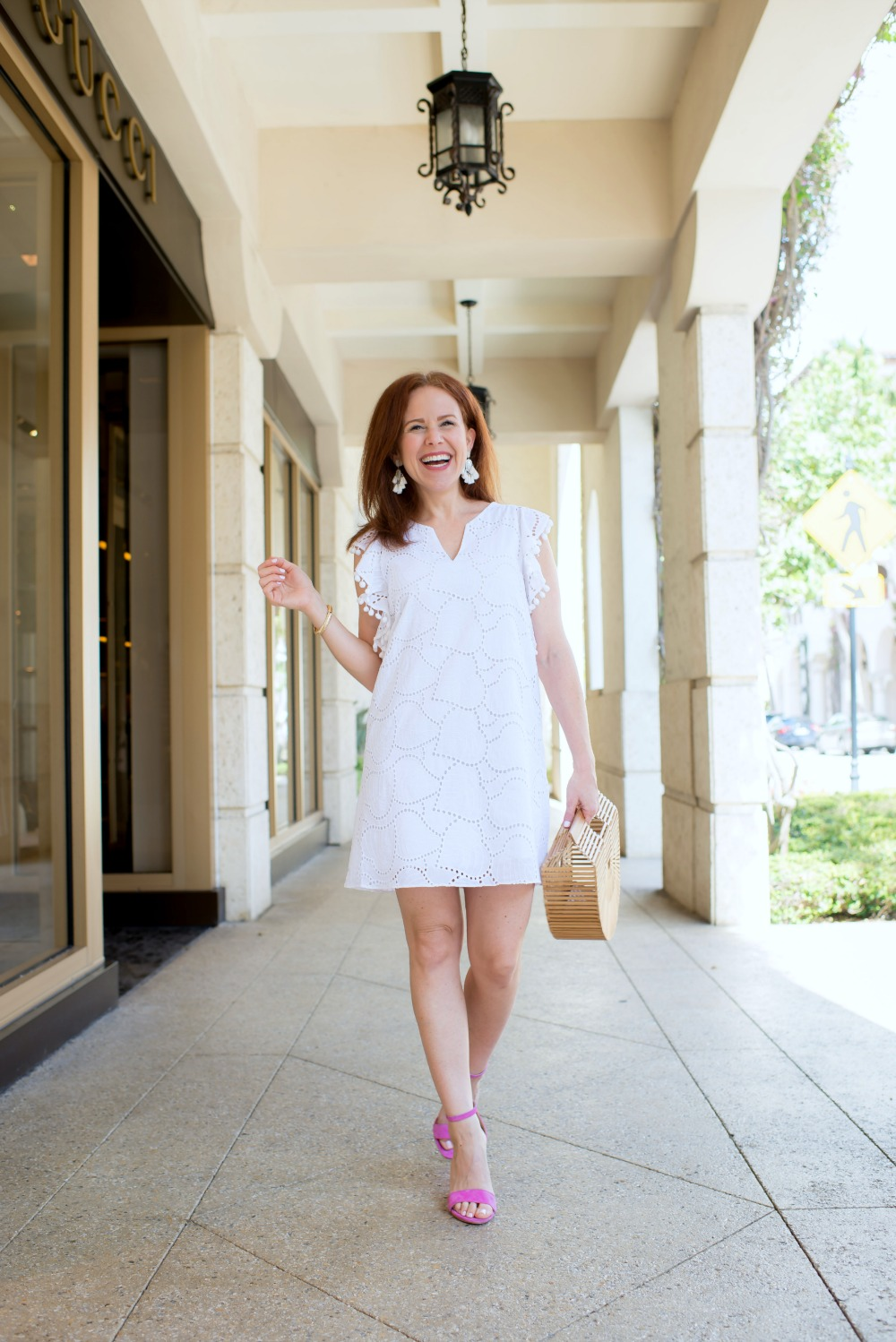 What this Palm Beach Blogger wears for an afternoon on Worth Avenue // the modern savvy - The Little White Dress featured by popular Florida style blogger, The Modern Savvy