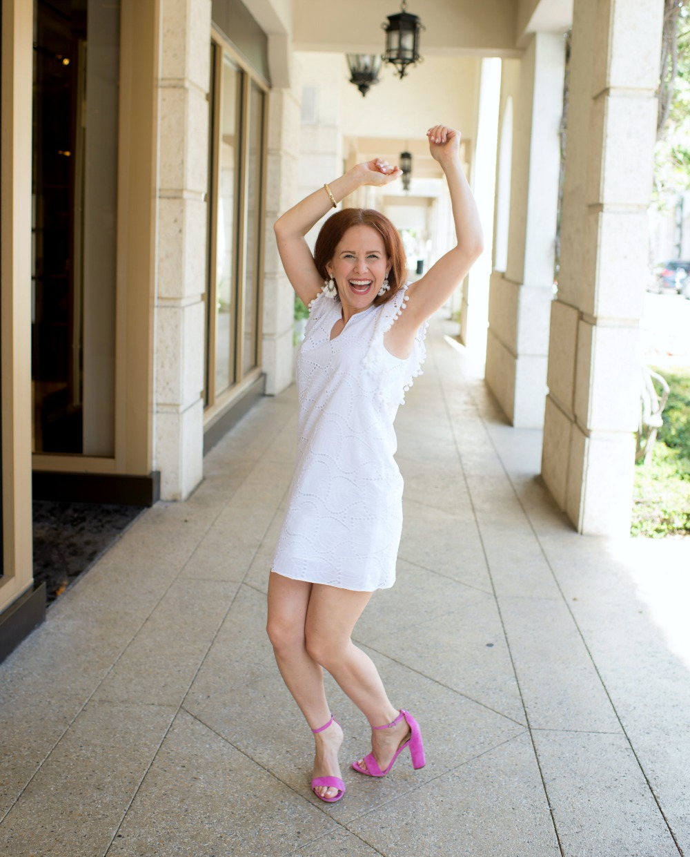 White dress with pink heels - The Little White Dress featured by popular Florida style blogger, The Modern Savvy