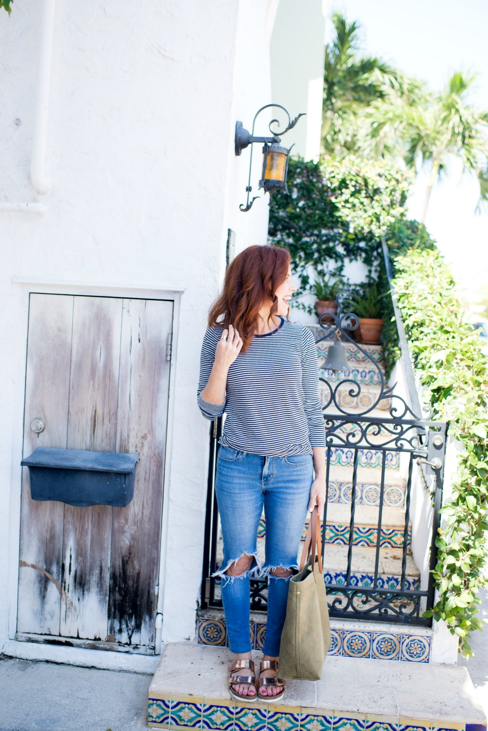 stripes, distressed denim and birkenstocks // the modern savvy, a life & style blog based in palm beach - Everyday essentials by popular Florida style blogger, The Modern Savvy