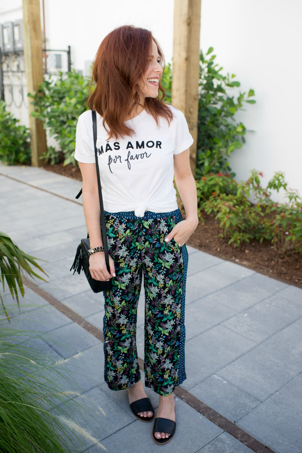 Cropped wide leg floral pants // the modern savvy - Cropped Wide Leg Pants featured by popular Florida style blogger The Modern Savvy