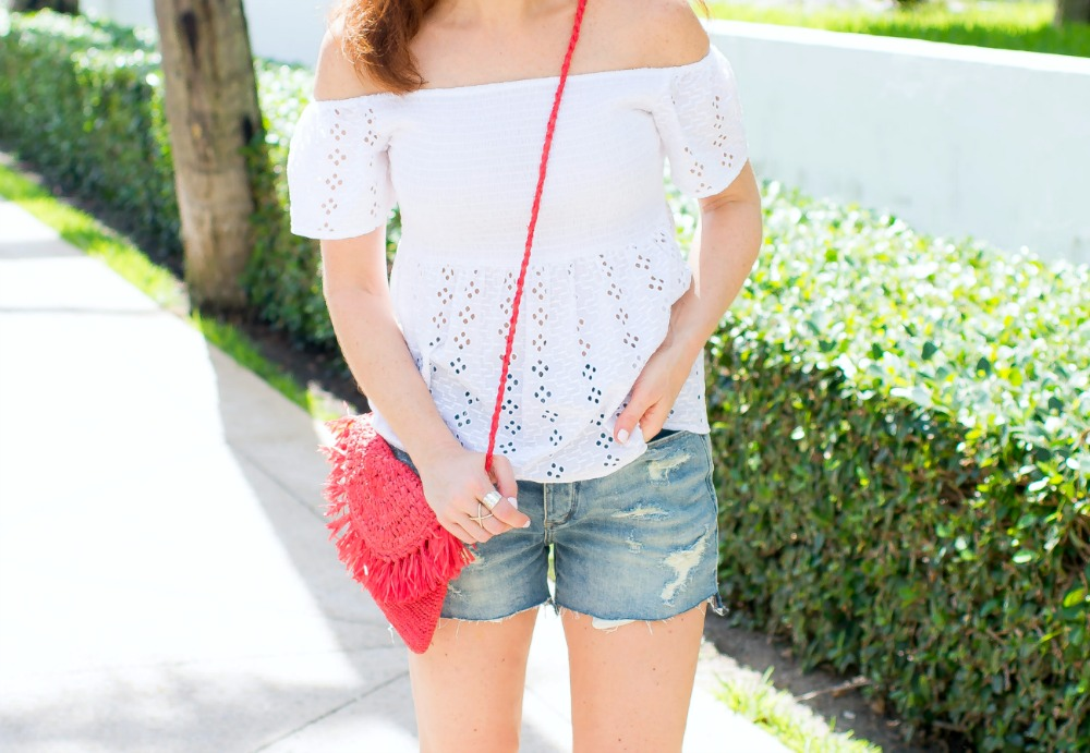 Last minute 4th of July outfit ideas -white tee, denim shorts & a red accessory! - Casual Cute 4th of July Outfit featured by popular Florida style blogger, The Modern Savvy