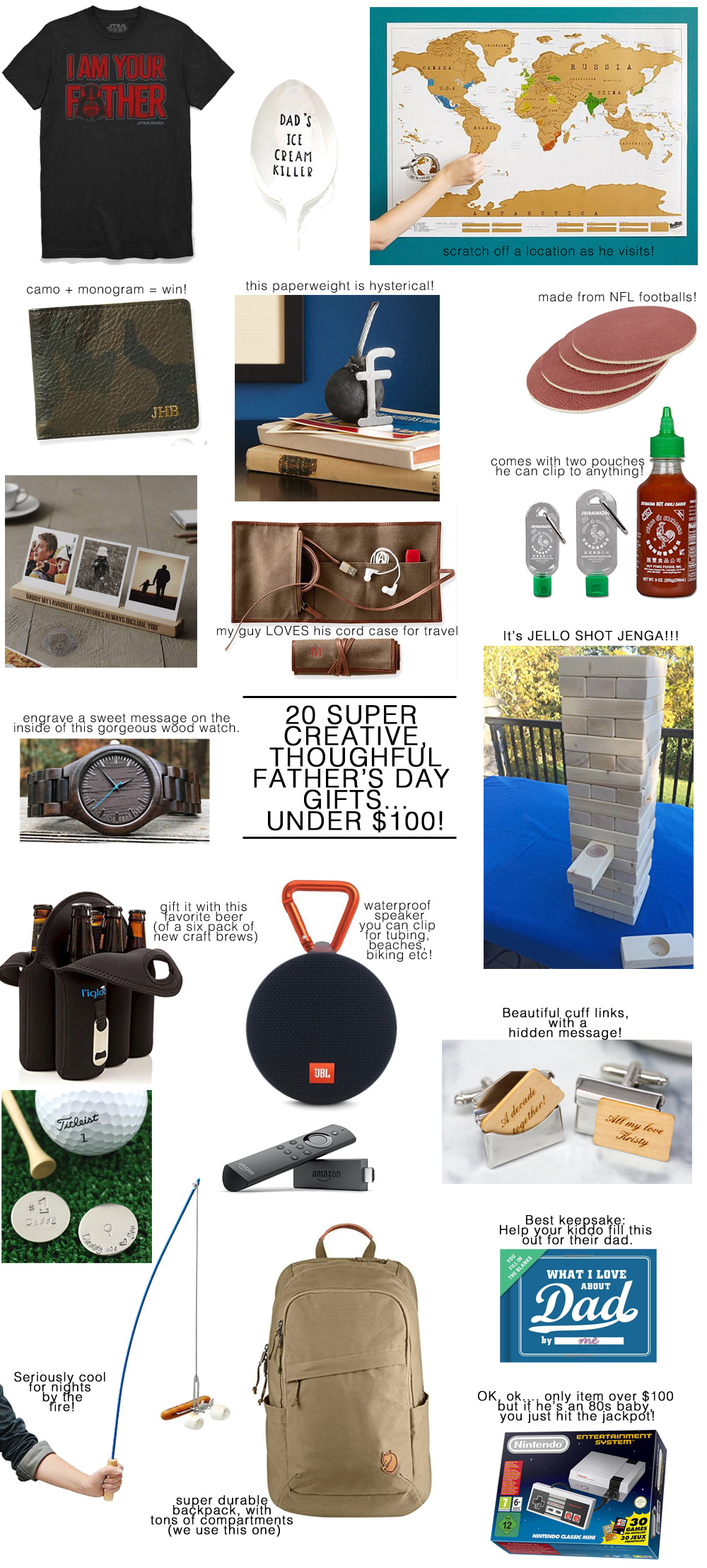 20 Super Creative & Thoughtful Father's Day Gift Ideas -- Under $100!! -- Especially for the Guy Who Has Everything (or is impossible to shop for!).