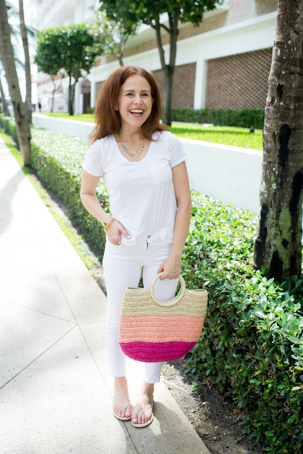 Five Creative & EASY outfit ideas wearing a white tee and jeans | How to Wear White Jeans & White Tee - outfit ideas featured by popular Florida style blogger, The Modern Savvy