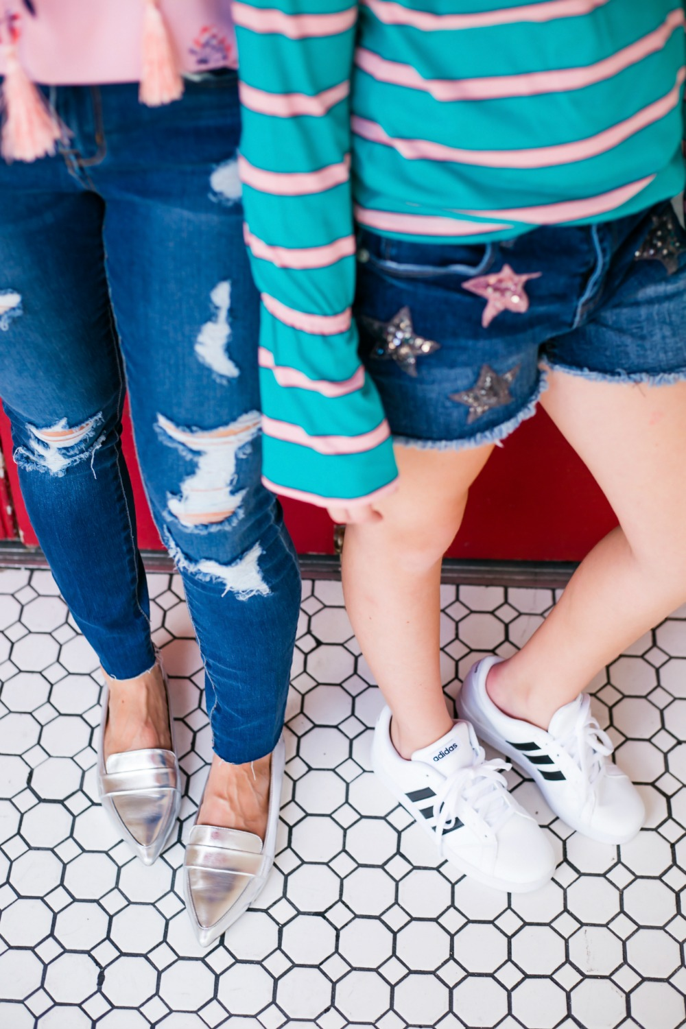 slides and superstars // mother daughter shoe style for fall - Back to School Style, with JCPenney featured by popular Florida fashion blogger, The Modern Savvy