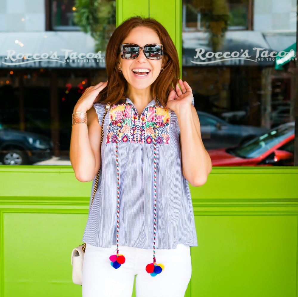 Pom pom and embroidered top - Cutest $17 Summer Top, Basically Ever featured by popular Florida style blogger The Modern Savvy