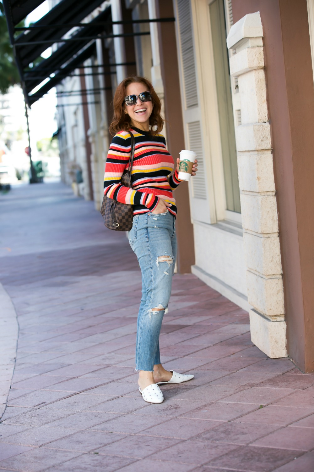 What to wear on the weekends // the modern savvy, florida life & style blog #fallstyle #falloutfits #over30style | 90s Vibes | Target | Fall weekend uniform | The Striped Ribbed Sweater is Back featured by top Florida fashion blog the modern savvy