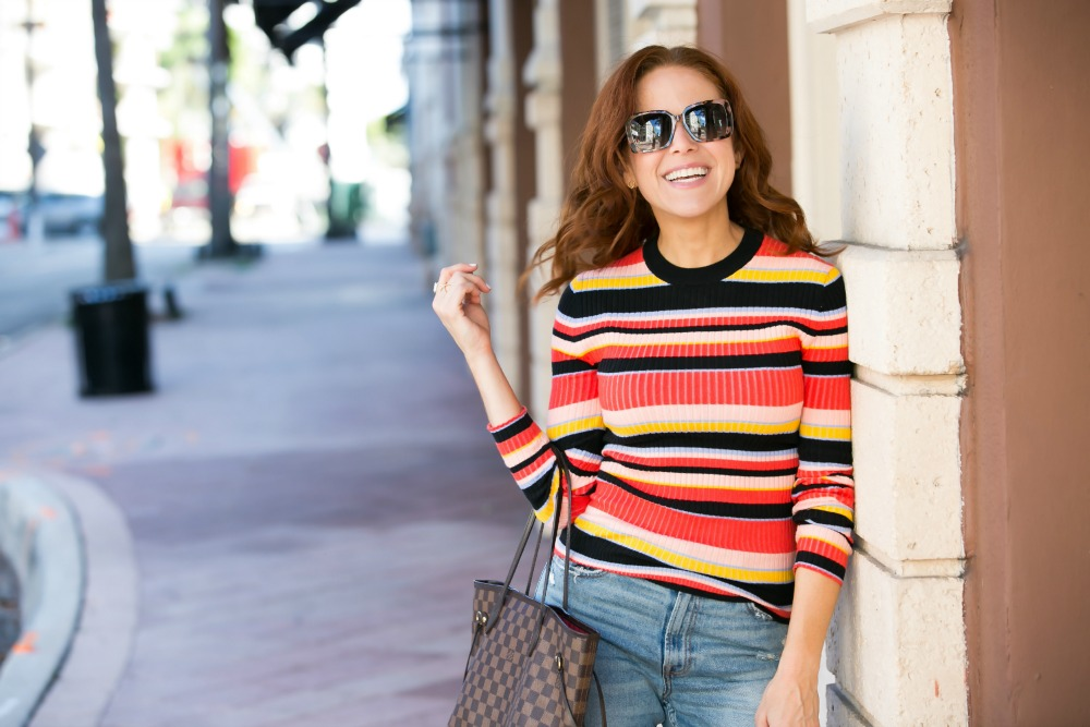 Rainbow ribbed sweater from Who What Wear at Target | 90s Vibes | Target | Fall weekend uniform | The Striped Ribbed Sweater is Back featured by top Florida fashion blog the modern savvy