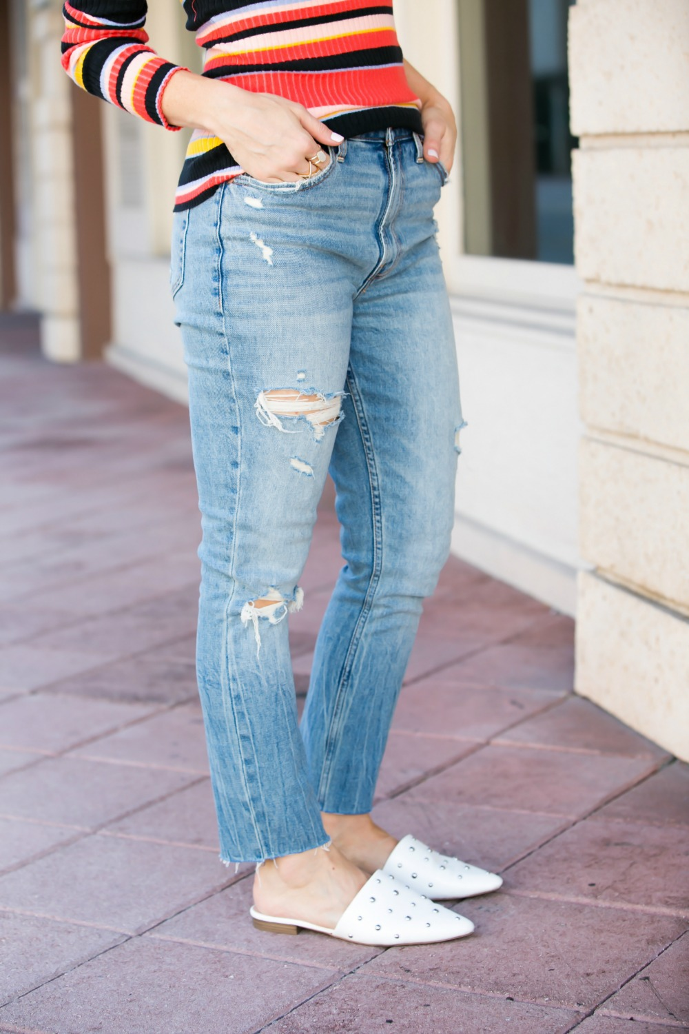 The perfect boyfriend denim // #fallvibes #falloutfit #momoutfit | 90s Vibes | Target | Fall weekend uniform | The Striped Ribbed Sweater is Back featured by top Florida fashion blog the modern savvy