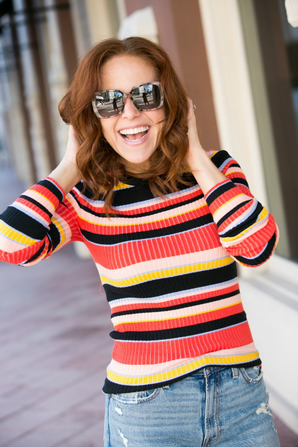 Rainbow tops for fall | 90s Vibes | Target | Fall weekend uniform | The Striped Ribbed Sweater is Back featured by top Florida fashion blog the modern savvy