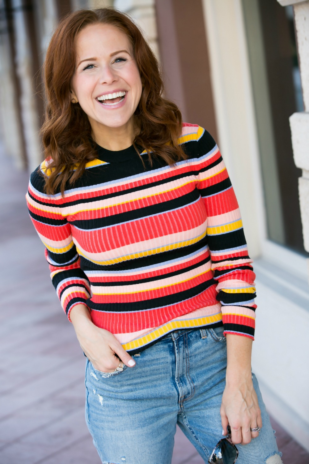 The easiest, and budget friendly outfit to look pulled together FAST // #falloutfit #momstyle #momuniform #rainbow | 90s Vibes | Target | Fall weekend uniform | The Striped Ribbed Sweater is Back featured by top Florida fashion blog the modern savvy