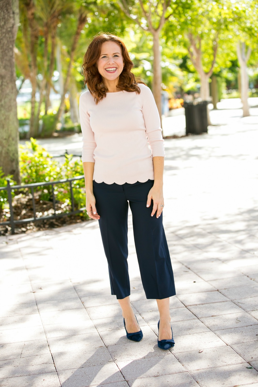 Scalloped sweater and cropped pants for work #workoutfit #workstyle #fallstyle