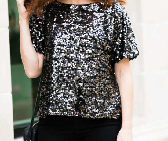 black sequin top with black denim