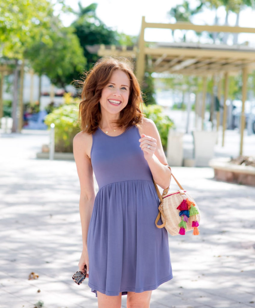 Spring Dress featured by top US life and style blog The Modern Savvy; Image of a woman wearing Amazon dress, Treasure & Bond wedges, Nordstrom purse, Splash Jewelry earrings and Gorjana necklace.