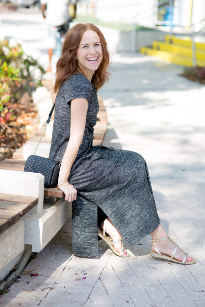 Casual Midi Dress featured by top US fashion blog The Modern Savvy; Image of a woman wearing a Talbots dress, Talbots jewelry, Talbots sandals and Talbots cross-body bag.