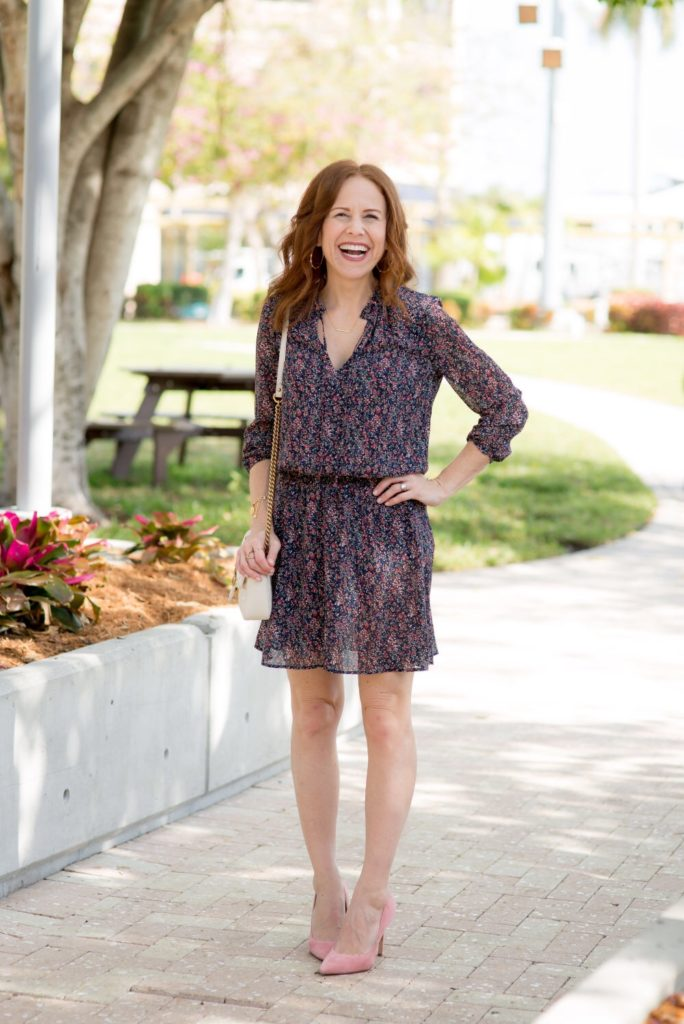 Spring Floral Dress featured by top US fashion blog The Modern Savvy; Image of a woman wearing J.Crew Factory dress, Sam Edelman shoes, bracelets from Talbots, Lilly Pulitzer earring and Gucci purse.