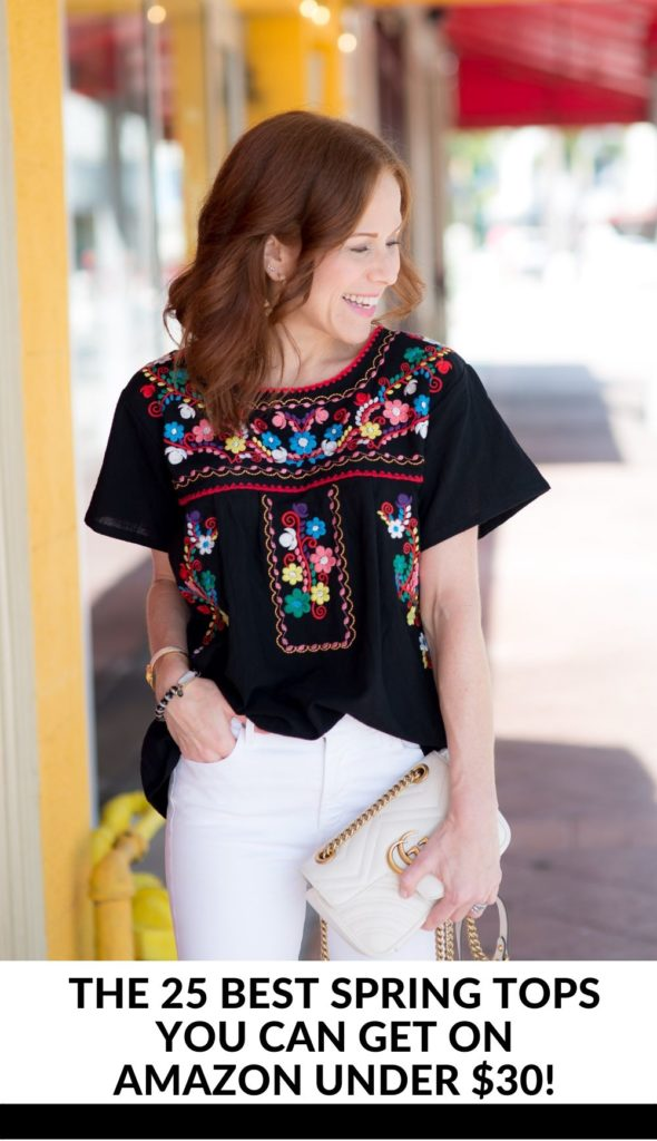 Cute Spring Tops featured by top US fashion blog The Modern Savvy; Image of a woman wearing Amazon top, Citizens of Humanity denim and Treasure & Bond wedges.