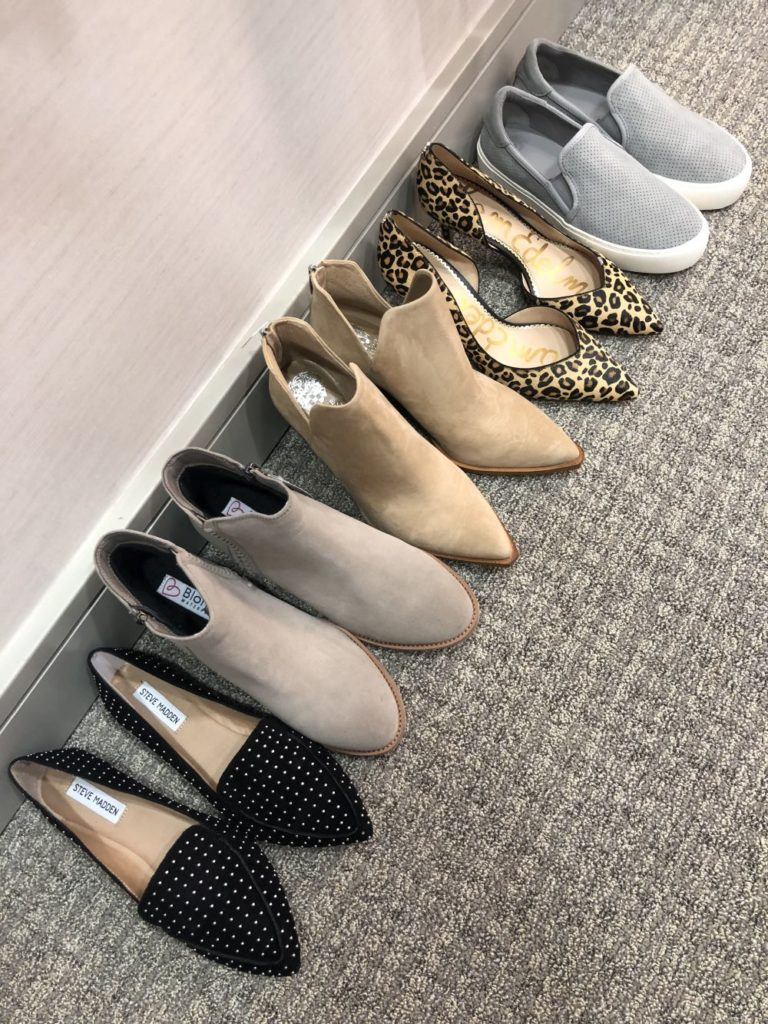 Nordstrom Anniversary Sale 2019: Fitting Room Try-On Session & My Favorite Under $100 finds! by popular Florida fashion blog, The Modern Savvy: image of STEVE MADDEN feather stud loafers, BLONDO BOOTIES, VINCE CAMUTO BOOTIES, SAM EDELMAN LEOPARD PUMPS, and UGG SLIDE SNEAKERS lined up in a row.