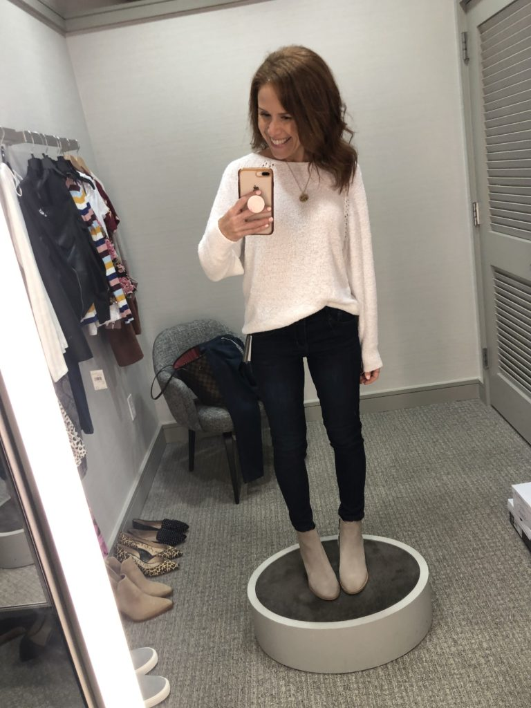 Nordstrom Anniversary Sale 2019: Fitting Room Try-On Session & My Favorite Under $100 finds! by popular Florida fashion blog, The Modern Savvy: image of woman inside a Nordstrom dressing room wearing a Caslon Boat Neck Bouclé Sweater, WIT & WISDOM DENIM, and  BLONDO BOOTIES.