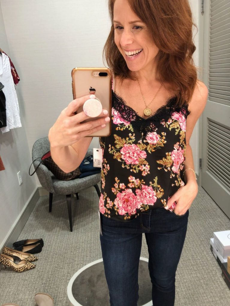 Nordstrom Anniversary Sale 2019: Fitting Room Try-On Session & My Favorite Under $100 finds! by popular Florida fashion blog, The Modern Savvy: image of woman inside a Nordstrom dressing room wearing a BP LACE CAMISOLE and WIT & WISDOM DENIM.