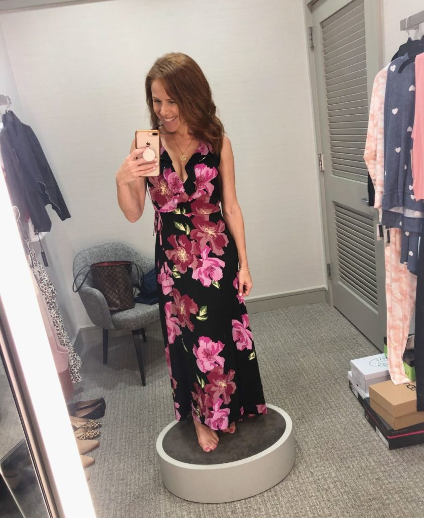 Nordstrom Anniversary Sale 2019: Fitting Room Try-On Session & My Favorite Under $100 finds! by popular Florida fashion blog, The Modern Savvy: image of woman inside a Nordstrom dressing room wearing a LEITH MAXI DRESS.