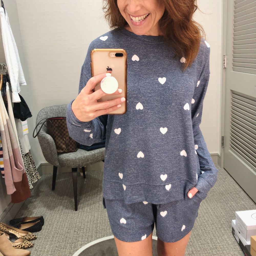 Nordstrom Anniversary Sale 2019: Fitting Room Try-On Session & My Favorite Under $100 finds! by popular Florida fashion blog, The Modern Savvy: image of woman inside a Nordstrom dressing room wearing a BP Cozy Top, BP Cozy Shorts, and BP Cozy Joggers.