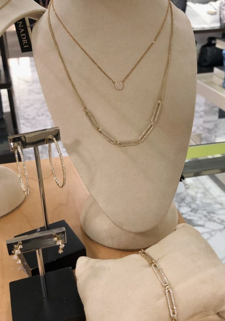 Nordstrom Anniversary Sale 2019: Fitting Room Try-On Session & My Favorite Under $100 finds! by popular Florida fashion blog, The Modern Savvy: image of Nordstrom Medium Seamless Pavé Hoop Earrings, Nordstrom Vintage Cubic Zirconia Ear Crawlers, Nordstrom Pavé Disc Pendant Necklace, Nardi Cubic Zirconia Links Frontal Necklace, and Nardi Cubic Zirconia Links Hoop Earrings.