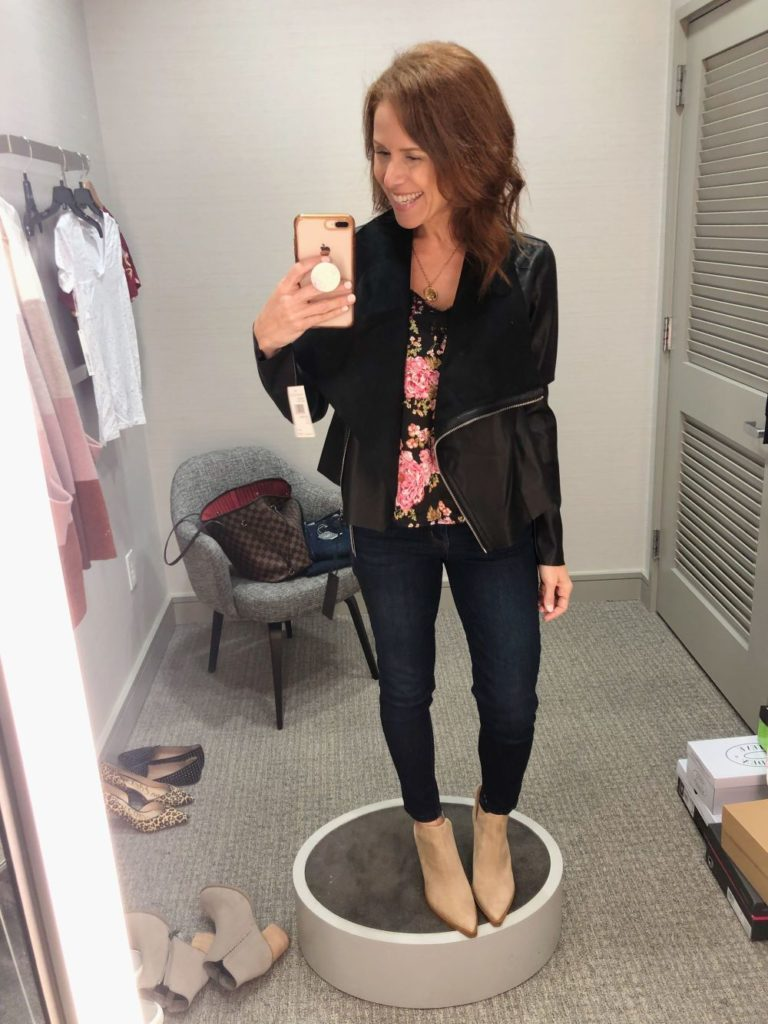 Nordstrom Anniversary Sale 2019: Fitting Room Try-On Session & My Favorite Under $100 finds! by popular Florida fashion blog, The Modern Savvy: image of woman inside a Nordstrom dressing room wearing a BLANK NYC FAUX LEATHER JACKET, BP LACE CAMISOLE, WIT & WISDOM DENIM and VINCE CAMUTO BOOTIES.