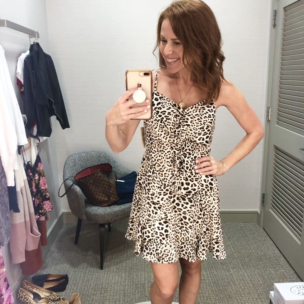 Nordstrom Anniversary Sale 2019: Fitting Room Try-On Session & My Favorite Under $100 finds! by popular Florida fashion blog, The Modern Savvy: image of woman inside a Nordstrom dressing room wearing a LEOPARD PRINT DRESS.