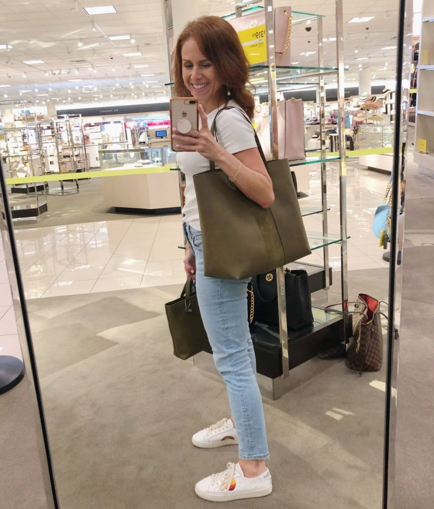 Nordstrom Anniversary Sale 2019: Fitting Room Try-On Session & My Favorite Under $100 finds! by popular Florida fashion blog, The Modern Savvy: image of woman holding a large Madewell transport tote.