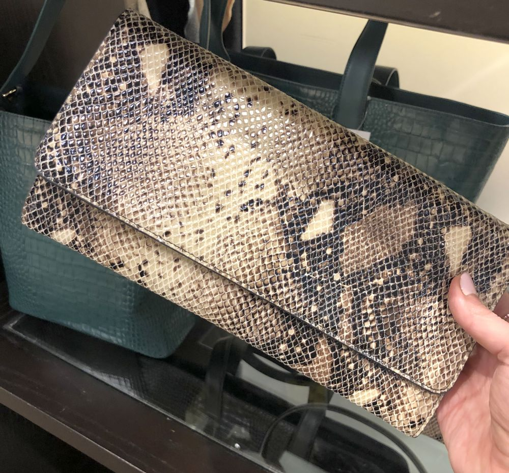 Nordstrom Anniversary Sale 2019: Fitting Room Try-On Session & My Favorite Under $100 finds! by popular Florida fashion blog, The Modern Savvy: image of Selena Leather snake skin Clutch