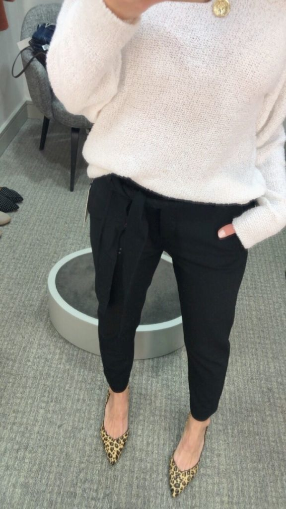 Nordstrom Anniversary Sale 2019: Fitting Room Try-On Session & My Favorite Under $100 finds! by popular Florida fashion blog, The Modern Savvy: image of woman inside a Nordstrom dressing room wearing a Caslon Boat Neck Bouclé Sweater, WIT & WISDOM DENIM, and SAM EDELMAN LEOPARD PUMPS.