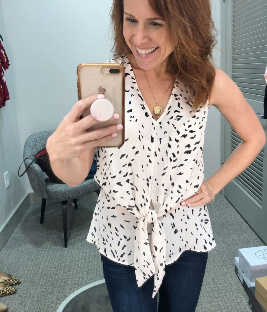 Nordstrom Anniversary Sale 2019: Fitting Room Try-On Session & My Favorite Under $100 finds! by popular Florida fashion blog, The Modern Savvy: image of woman inside a Nordstrom dressing room wearing a Chelsea28 Tie Waist Top and WIT & WISDOM DENIM.