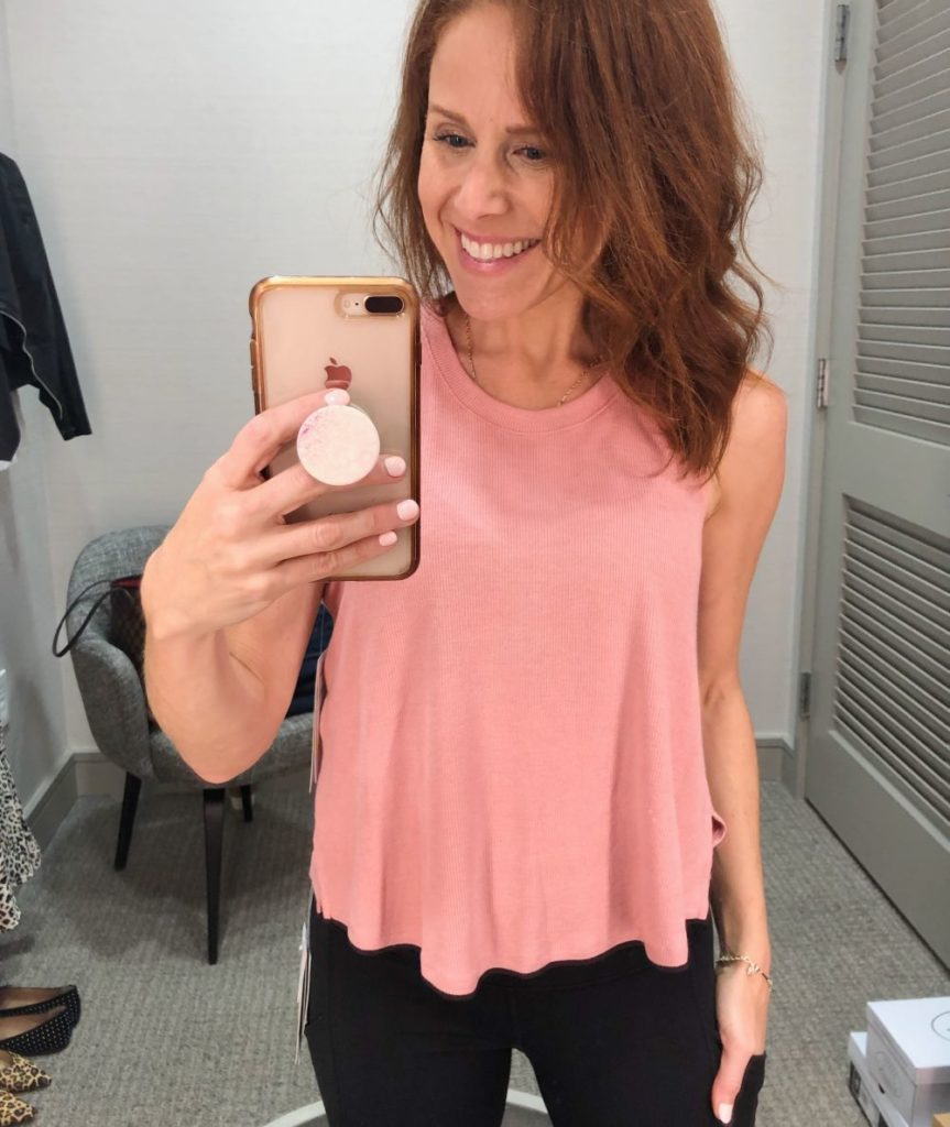 Nordstrom Anniversary Sale 2019: Fitting Room Try-On Session & My Favorite Under $100 finds! by popular Florida fashion blog, The Modern Savvy: image of woman inside a Nordstrom dressing room wearing a Zella Splits Ribbed Tank.