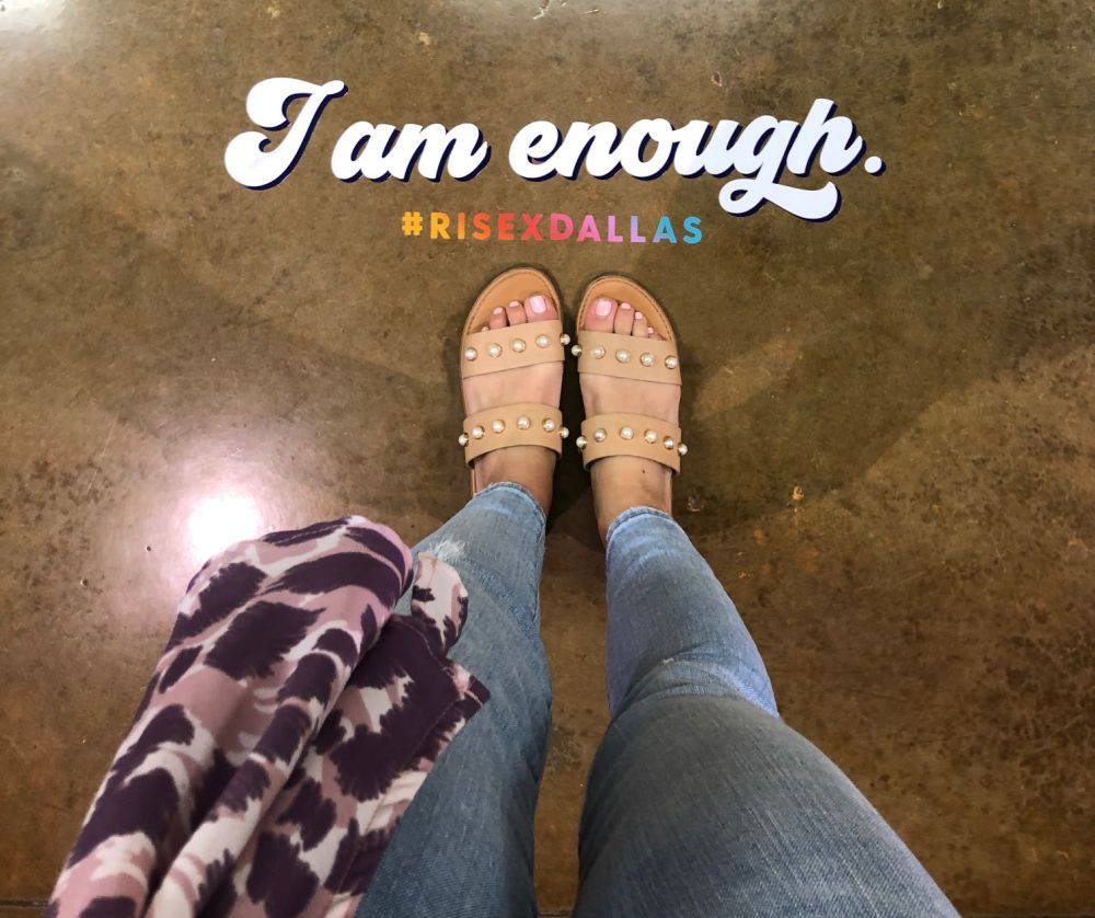 """Alyson's Recent Favorites // July 2019 by popular Florida lifestyle blog: The Modern Savvy: image of a woman's feet with the words """"I am enough"""" above them."""
