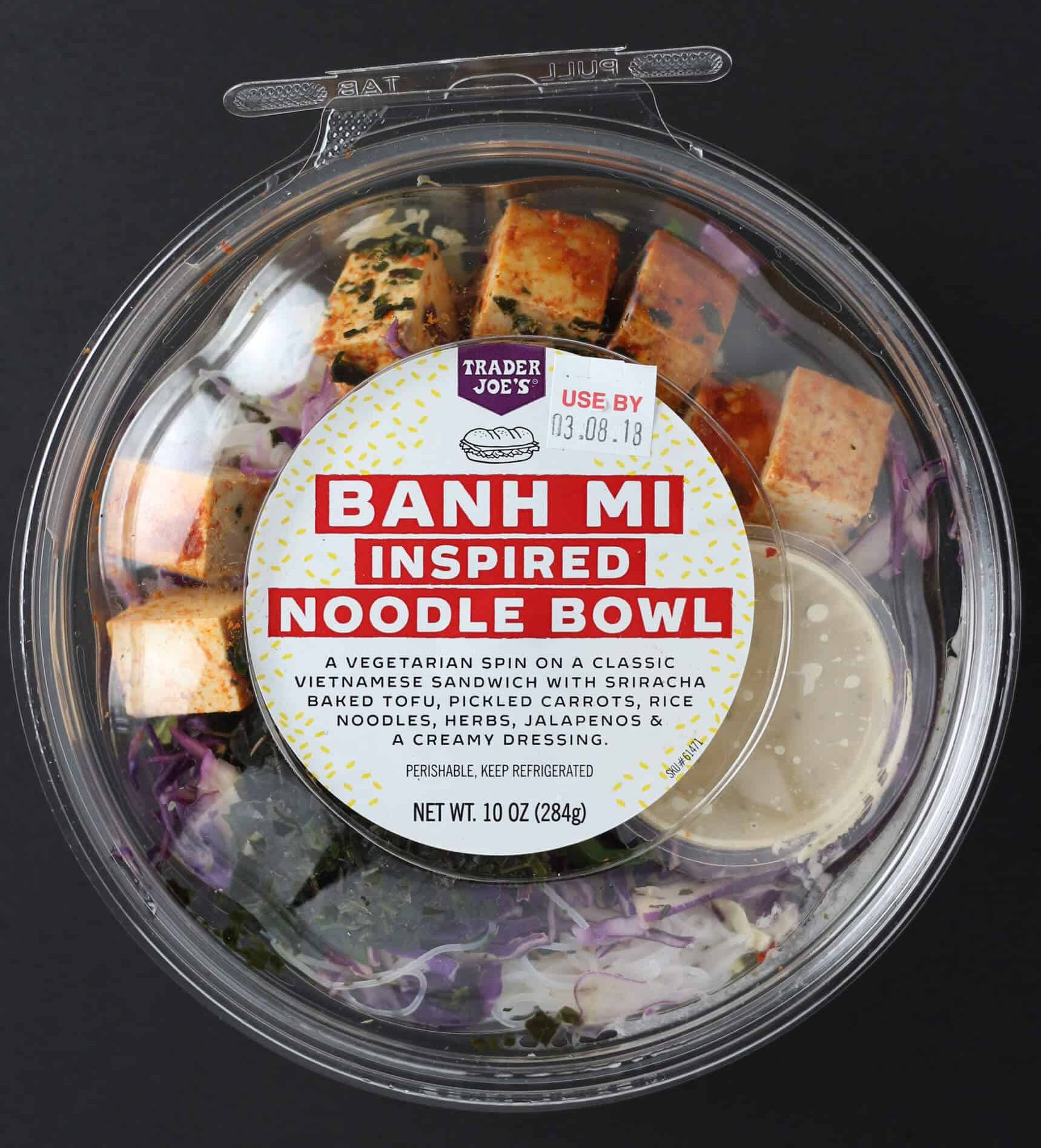 Alyson's Current Favorites // September 2019 by popular Florida life and style blog, The Modern Savvy: image of Trader Joe's Banh Mi Inspired Noodle Bowl.