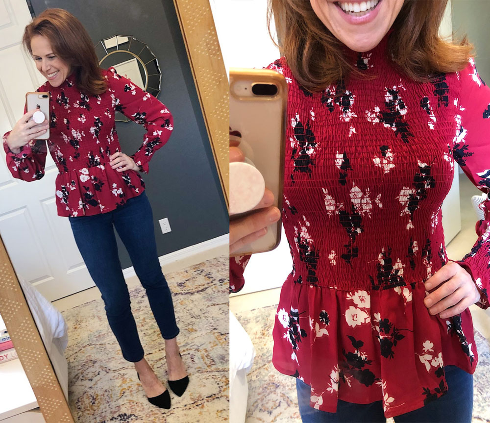 Early Fall / Florida Fall Fashion Ideas from my Latest Trunk Club by popular Florida fashion blog, The Modern Savvy: image of a woman wearing Nordstrom Gibson Smocked top.