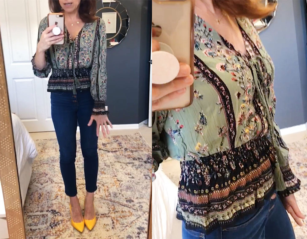 Early Fall / Florida Fall Fashion Ideas from my Latest Trunk Club by popular Florida fashion blog, The Modern Savvy: image of a woman wearing Nordstrom Angie Floral Print Lace Trim Peplum Top and Sam Edelman pumps.