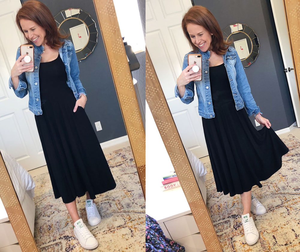 Early Fall / Florida Fall Fashion Ideas from my Latest Trunk Club by popular Florida fashion blog, The Modern Savvy: image of a woman wearing Nordstrom Reformation Rou Midi Fit & Flare Dress and Adidas Stan Smith Sneaker.