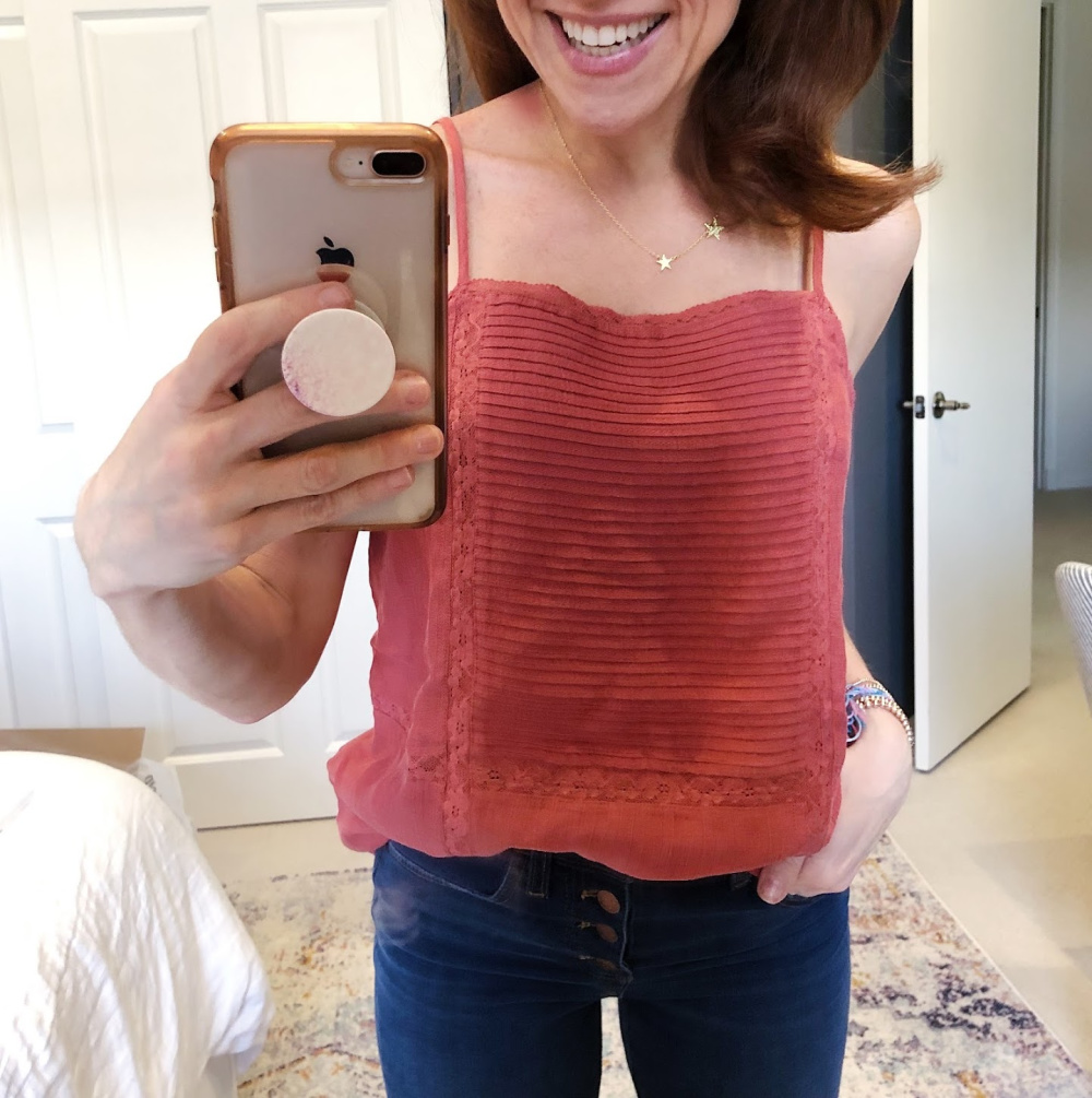 Early Fall / Florida Fall Fashion Ideas from my Latest Trunk Club by popular Florida fashion blog, The Modern Savvy: image of a woman wearing Nordstrom Hinge  Trim Camisole, Main, color, RUST MARSALA Lace Trim Camisole.