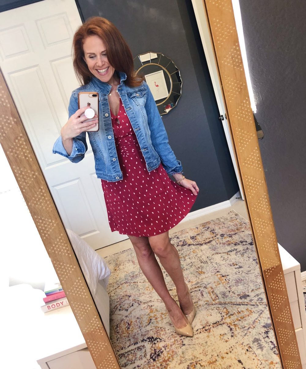 Early Fall / Florida Fall Fashion Ideas from my Latest Trunk Club by popular Florida fashion blog, The Modern Savvy: image of a woman wearing Nordstrom Chelsea 28 Dot print dress