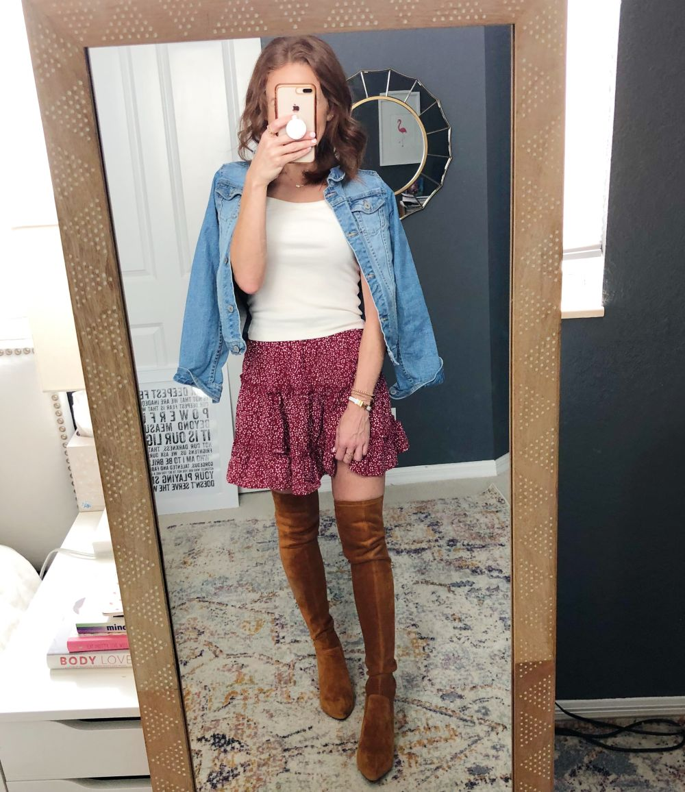 Alyson's Current Favorites // September 2019 by popular Florida life and style blog, The Modern Savvy: image of woman wearing Goodnight Macaroon 'MARLO' TAN OVER THE KNEE SUEDE LEATHER BOOTS.