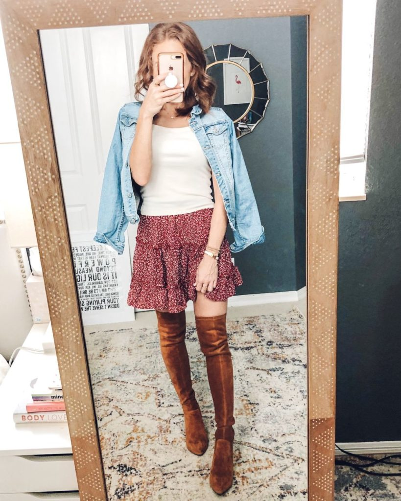 Five Ways to Wear for Fall: The Cutest Under $20 Amazon Skirt by popular Florida fashion blog, The Modern Savvy: image of a woman wearing a Amazon Salamola Women's Leopard Asymmetrical Ruffles High Waist Printed Cute Casual Mini Skirt, Goodnight Macaroon 'MARLO' TAN OVER THE KNEE SUEDE LEATHER BOOTS, Abercrombie top and jean jacket.
