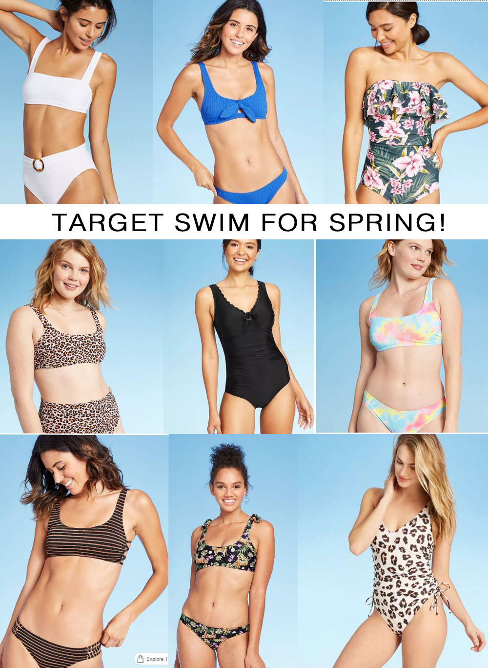 Target Swimsuits on Sale by popular Florida life and style blog, The Modern Savvy: collage image of various Target swimsuits that are currently on sale.