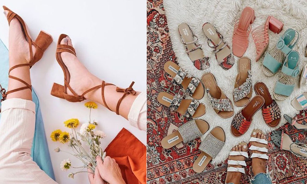 DSW Sale by popular Florida fashion blog, The Modern Savvy: split image of a woman wearing brown suede block heel sandals and various slide sandals in a pile on a Persian rug.
