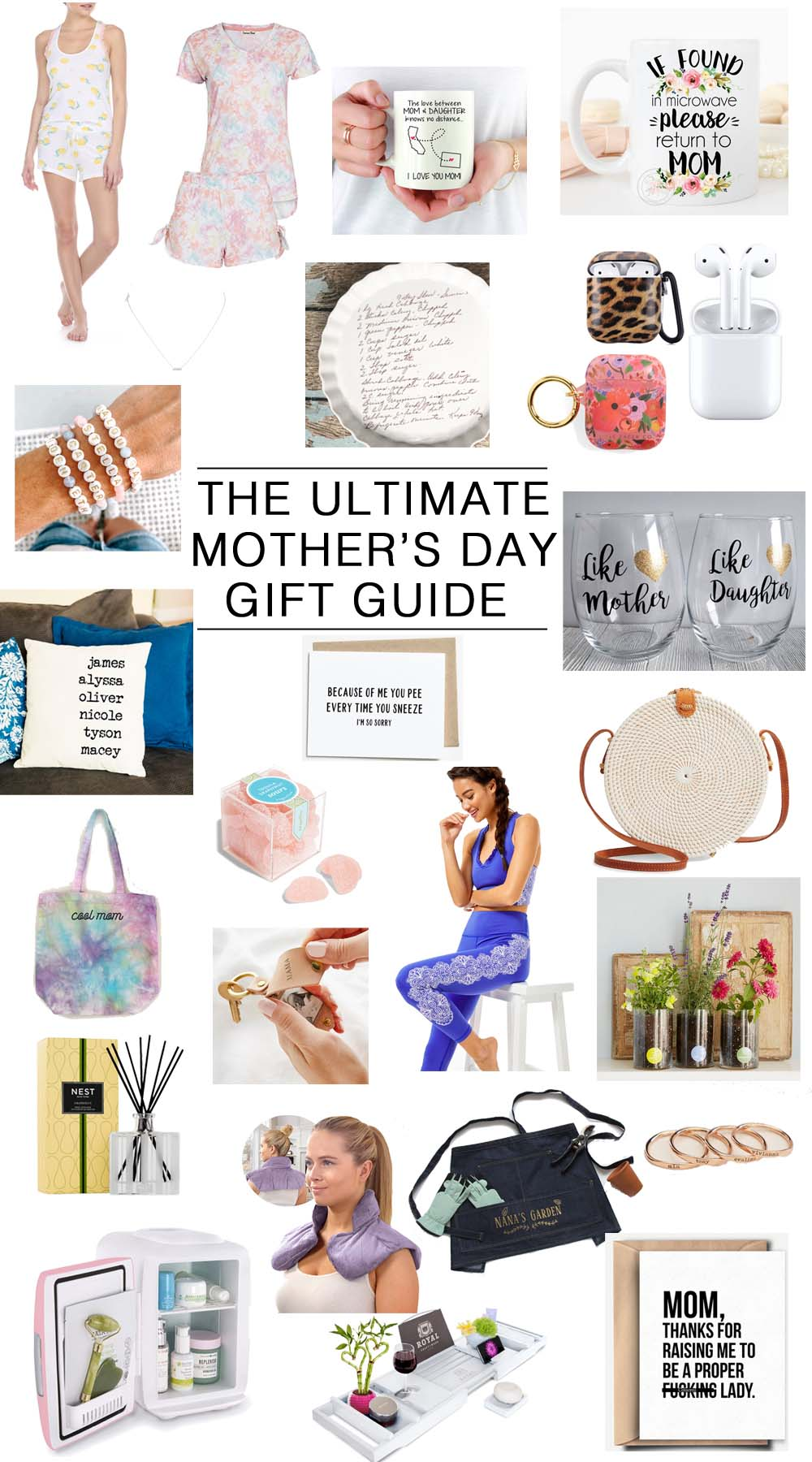 Mother's Day Gift Ideas by popular Florida life and style blog, The Modern Savvy: collage image of airpods, NEST grapefruit diffusers, personalized beaded bracelets, lemon print tank set, tie dye lounge set, Roberta Roller Rabbit, distance mug, if found mug, delicate bar necklace, custom recipe dish,leopard airpod case, floral airpod case, personalized pillow, sugarfina candy, wine glass set, cool mom tote, phot keychain, sports bra, leggins, rattan purse, birth month flower grow kit, neck/back heated wrap, garden apron, personalized rings, beauty and drink fridge, bath tray, and funny mother's day card.