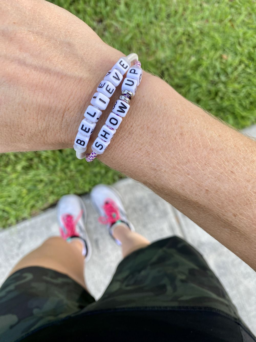 How to Stay Healthy by popular Florida lifestyle blog, The Modern Savvy: image of a woman wearing 'believe' and 'show up' stack bracelets.